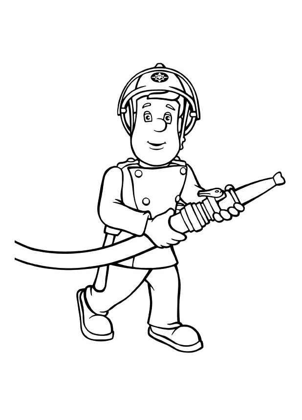 Coloriage dessiner sam le pompier julie - Dessiner un camion de pompier ...