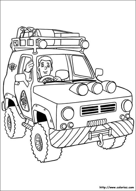 dessin à colorier sam le pompier