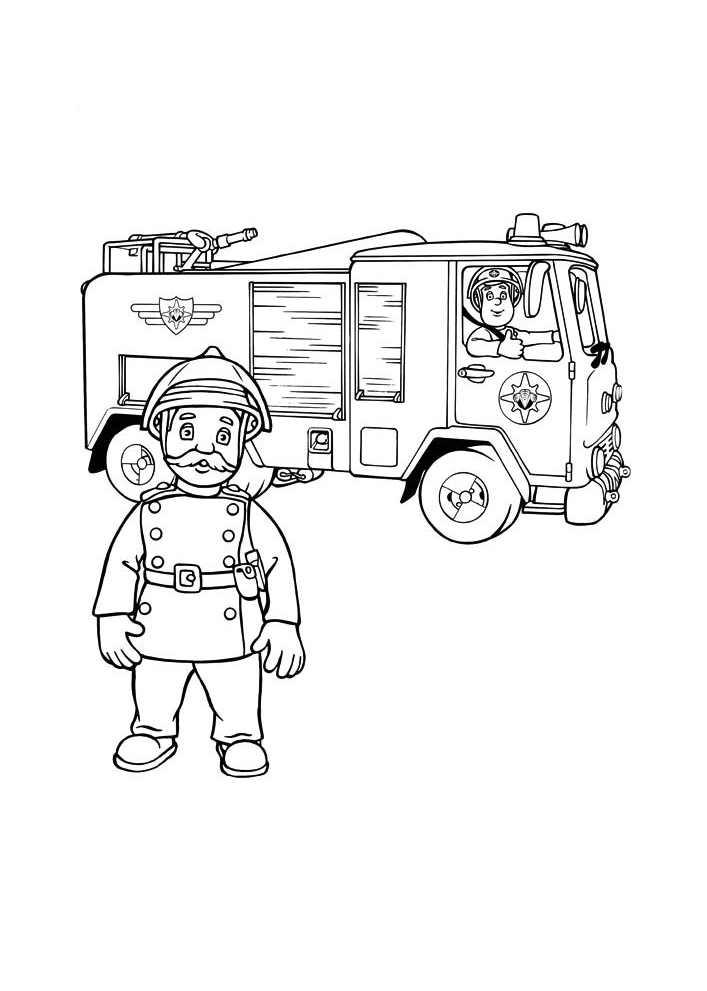 Dessin colorier sam le pompier piwi - Dessin sam le pompier ...