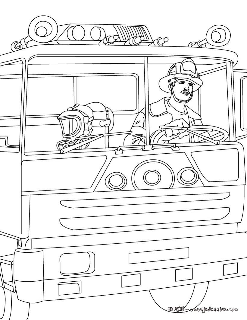 sam le pompier en coloriage � dessiner