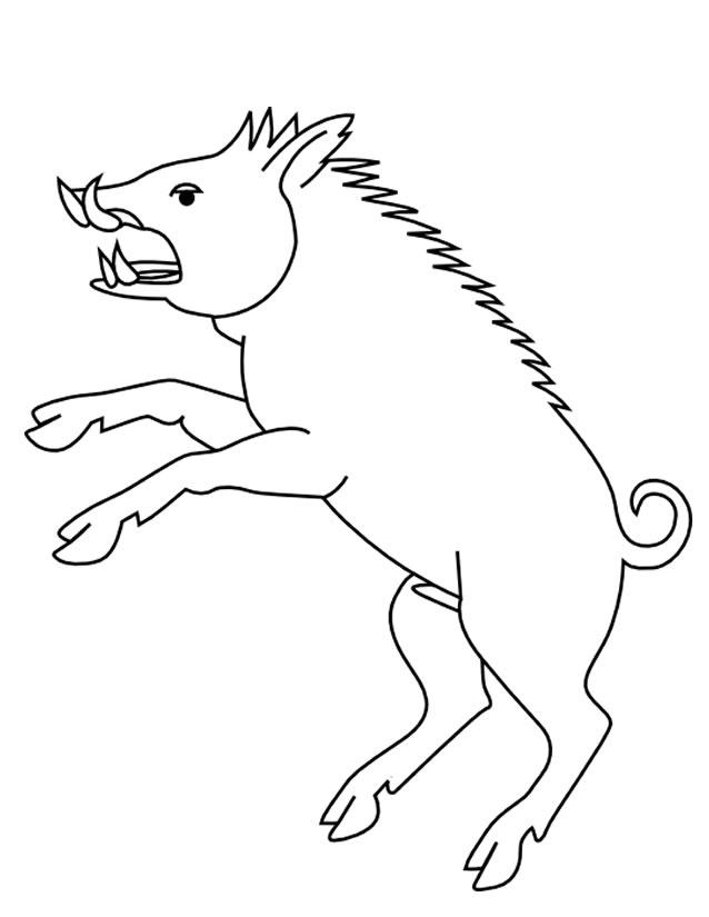 dessin à colorier chasseur sanglier