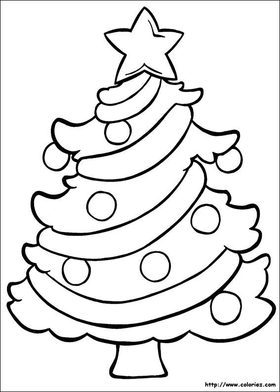 dessin à colorier sapin de noel et cadeaux