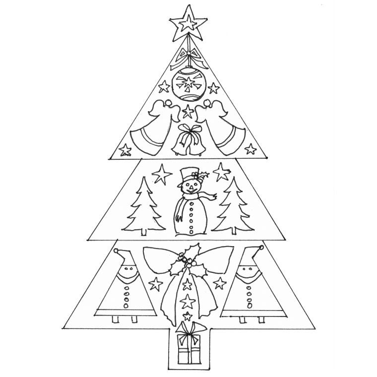 dessin à colorier sapin de noel avec des cadeaux