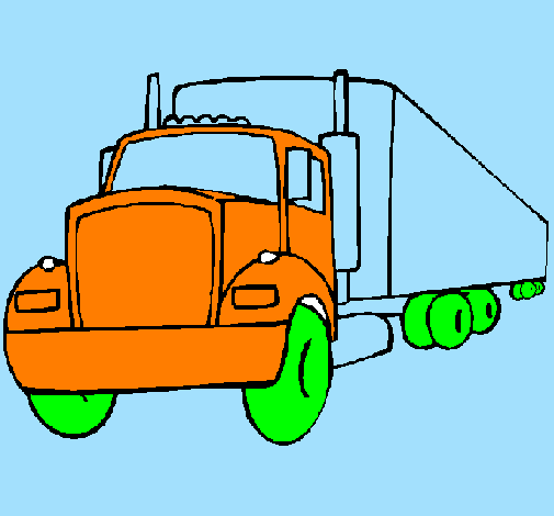 dessin à colorier de camion semi-remorque