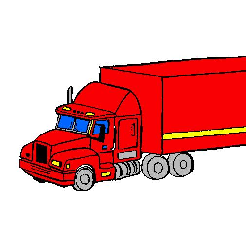 dessin de camion semi-remorque