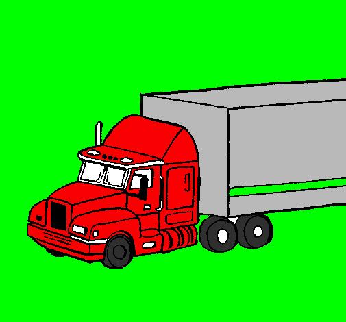 coloriage de camion semi-remorque