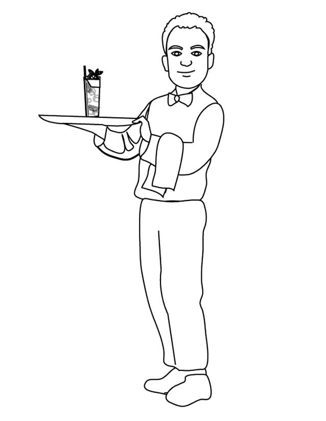 coloriage serveur restaurant