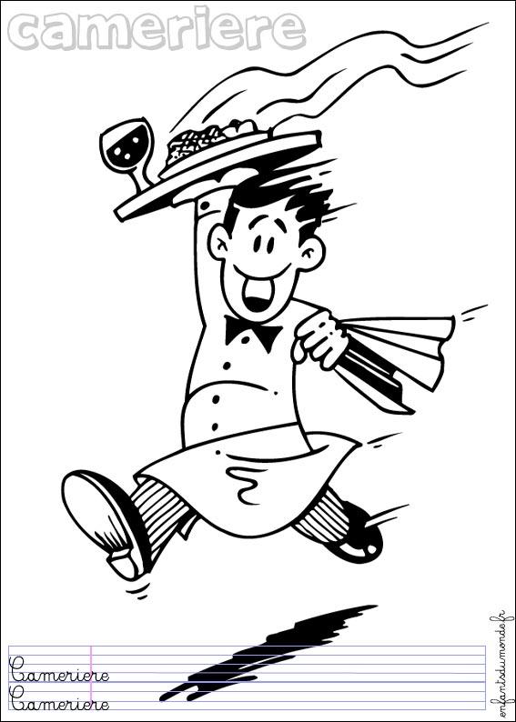 coloriage à dessiner serveur restaurant