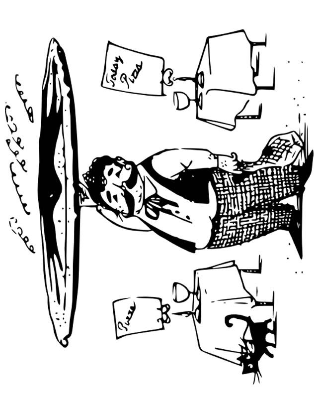 dessin à colorier serveur restaurant