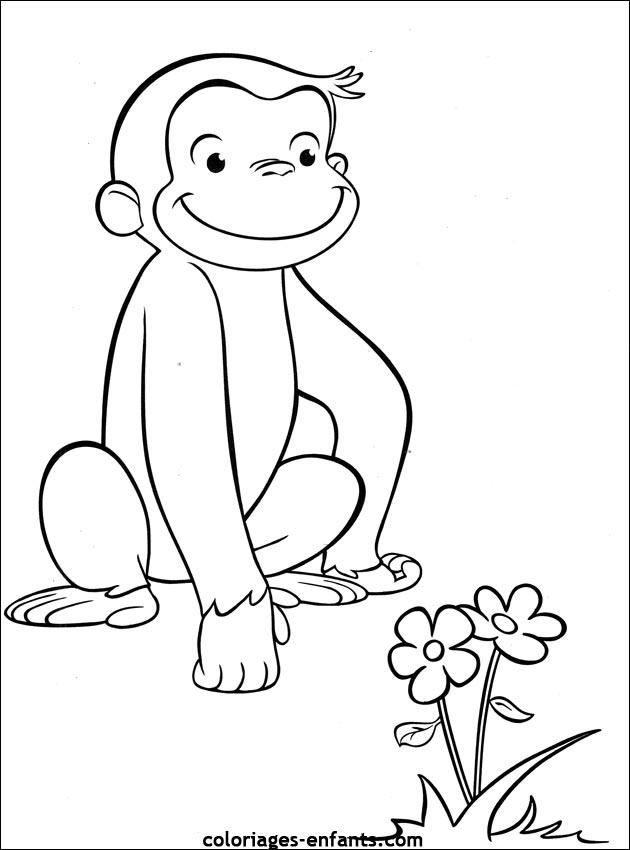 singe image dessin à colorier