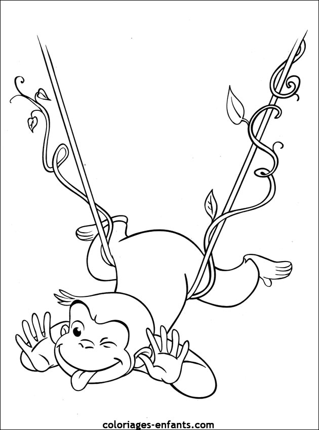 Coloriage dessiner singe arbre - Singe a dessiner ...