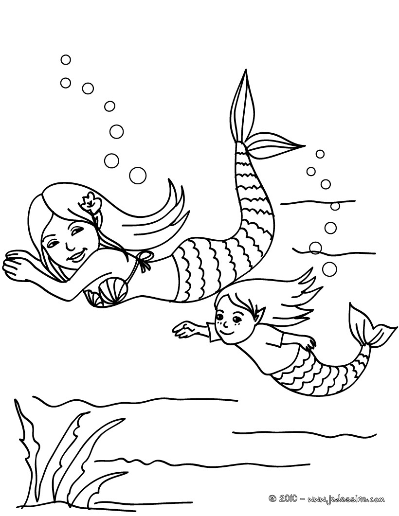 dessin à colorier sirene merliah