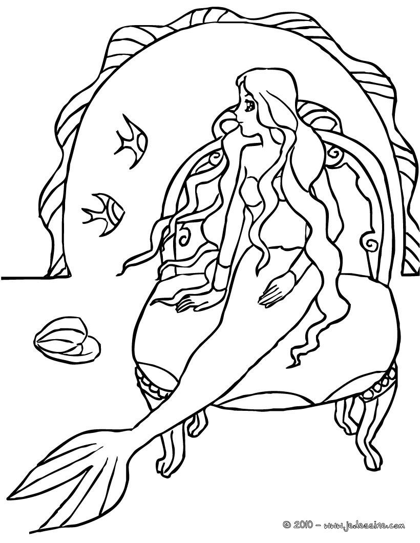 dessin à colorier sirène fée