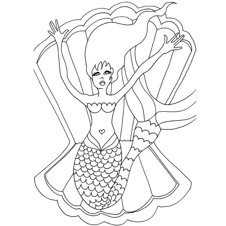 dessin � colorier magique sirene
