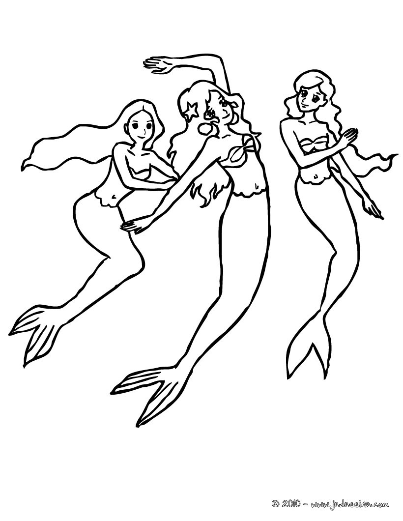 Image a colorier sirene - Coloriages sirenes ...