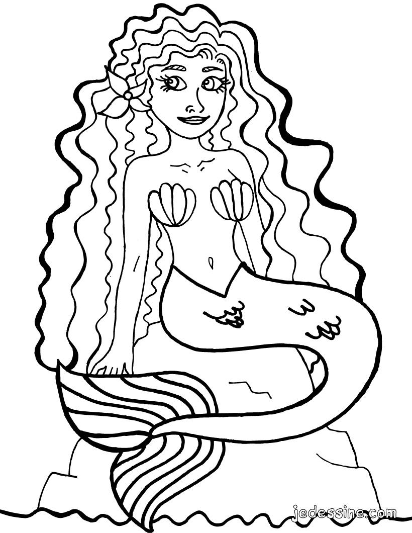 dessin à colorier petite sirene imprimer