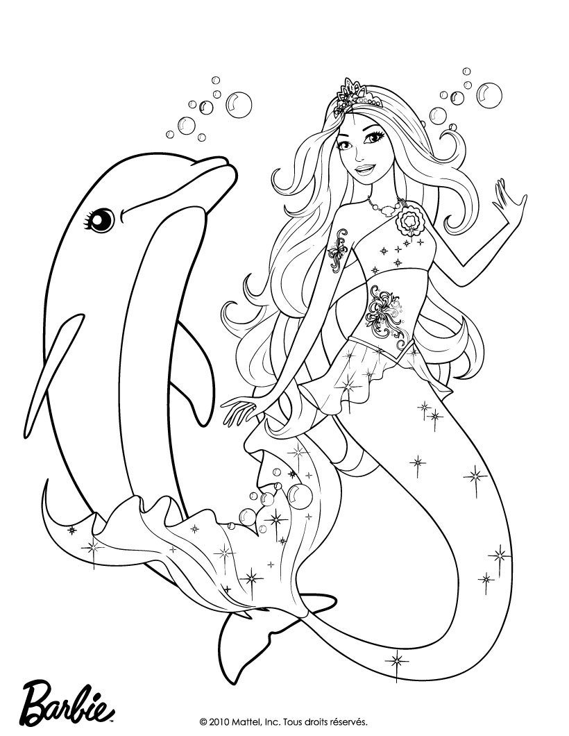 18 dessins de coloriage sir ne et dauphin imprimer - Barbie sirene coloriage ...