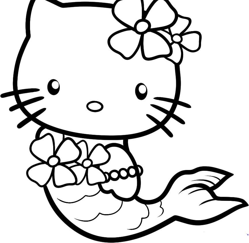 19 dessins de coloriage sir ne hello kitty imprimer - Dessin de sirene facile ...