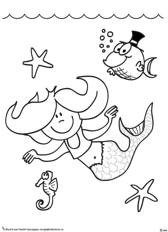 dessin a imprimer sirene ariel