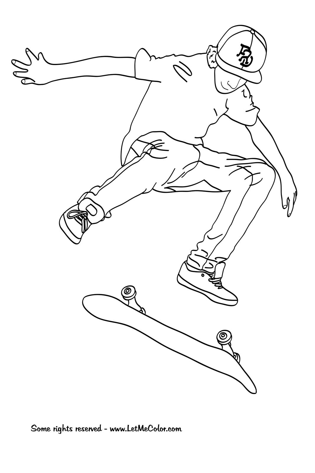 dessin en ligne skateboard