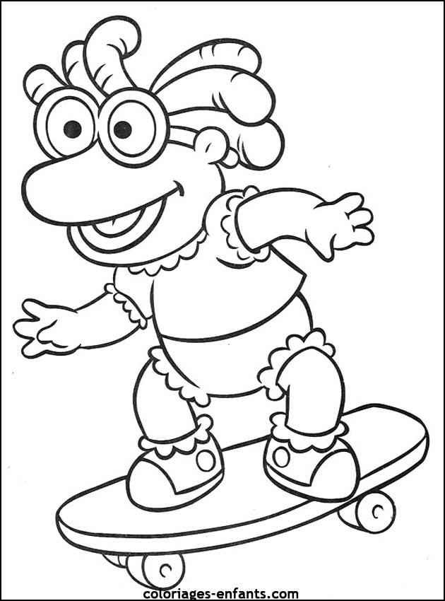 coloriage à dessiner skateboard