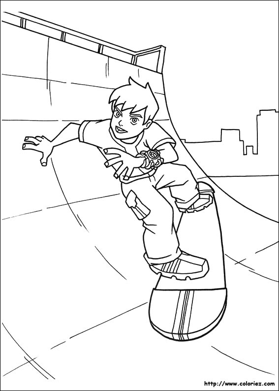 coloriage à dessiner de skateboard en ligne
