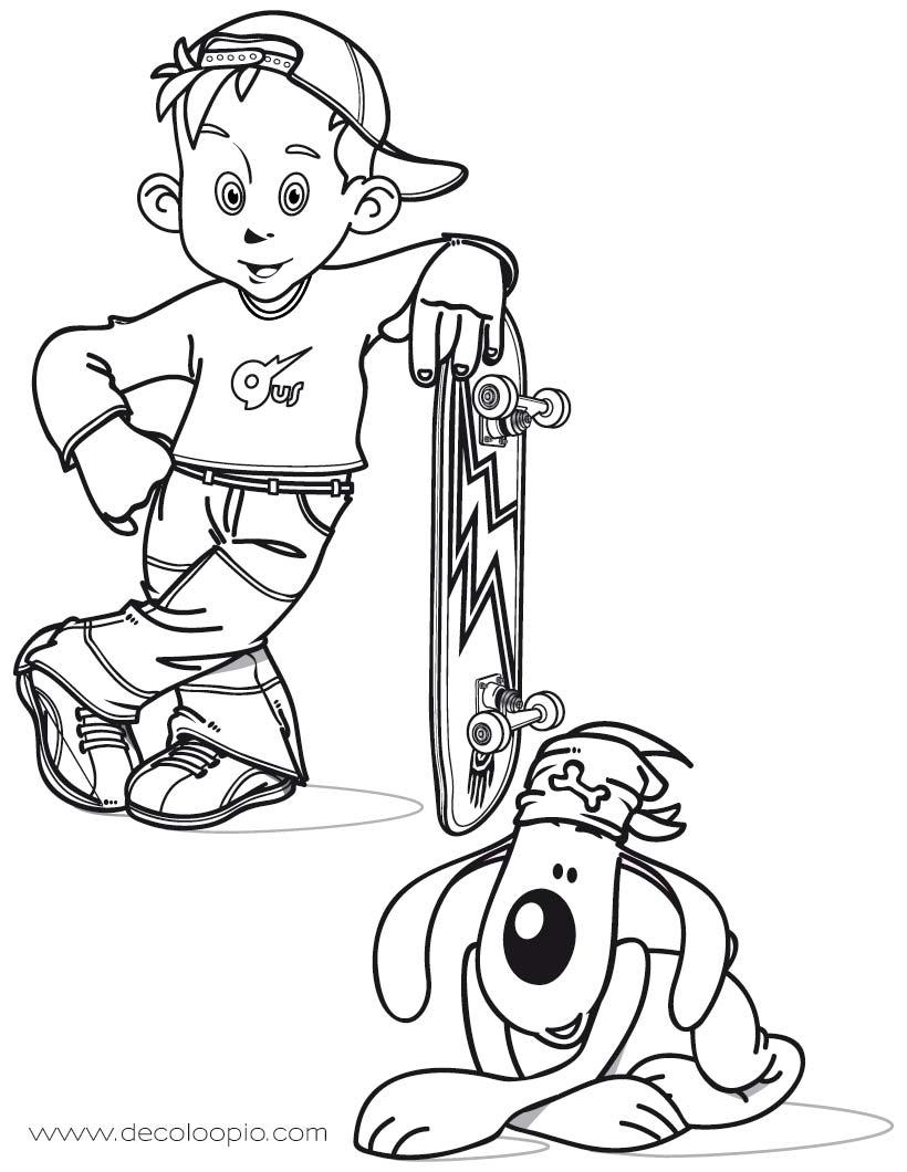 dessin à colorier de skater