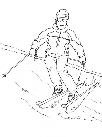 Coloriage skieur de fond - Ski alpin dessin ...