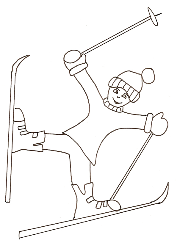 coloriage de ski freestyle