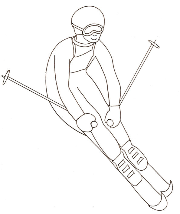 dessin à colorier ski alpin