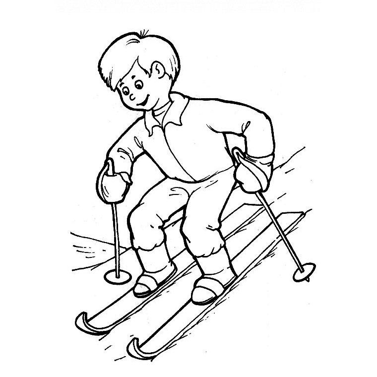 coloriage piste de ski