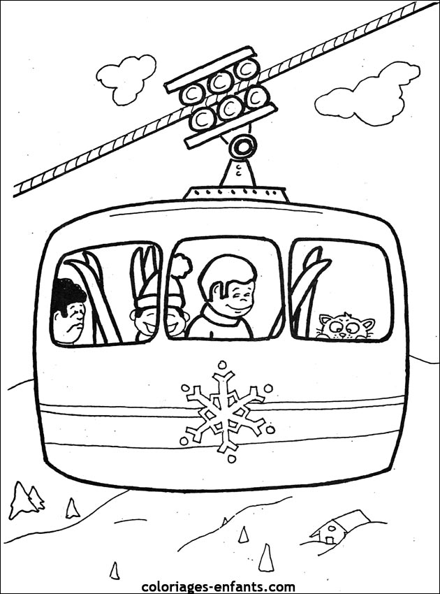 coloriage ski de fond