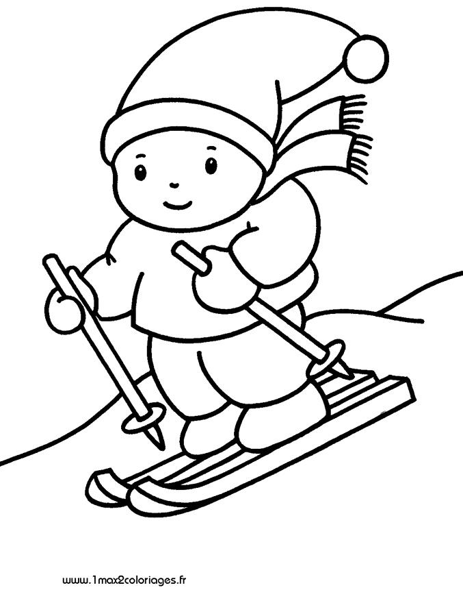 dessin à colorier magique ski