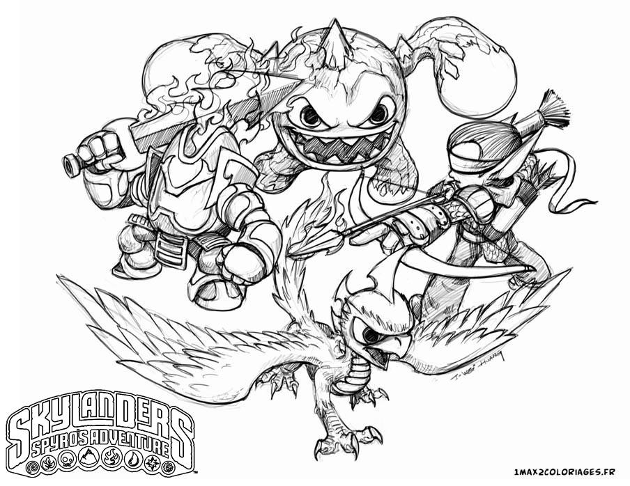 coloriage skylanders trap team feu
