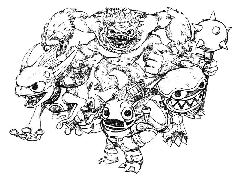 dessin à colorier les skylanders giants