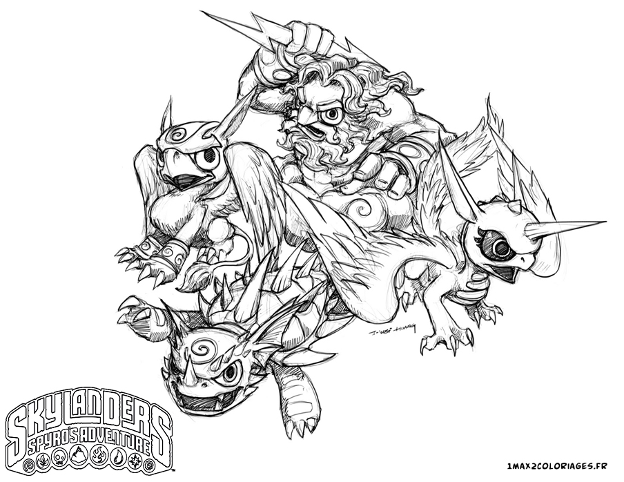 dessin � colorier a imprimer skylanders hot dog
