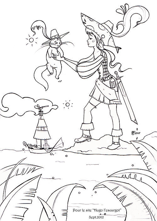 100 dessins de coloriage soleil hugo l 39 escargot imprimer - Coloriage fille pirate ...