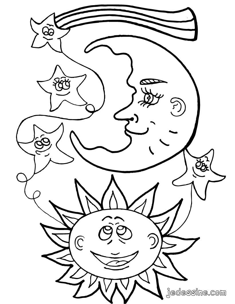 dessin ƒ colorier soleil maternelle