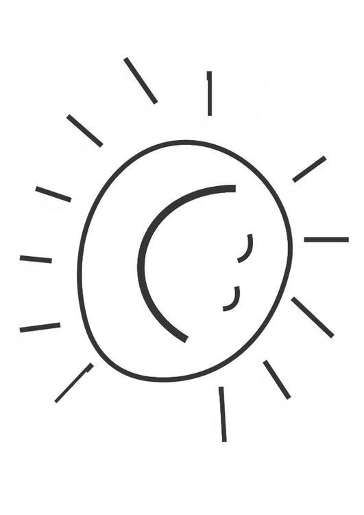coloriage à dessiner soleil rigolo