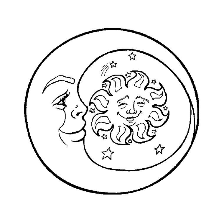 Coloriage dessiner a imprimer etoiles soleil lune - Dessin de lune ...
