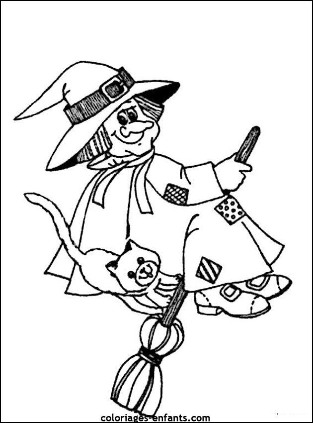 coloriage à dessiner patou la sorcière