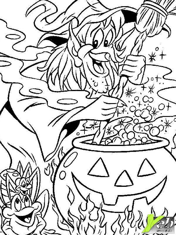 dessin à colorier sorcière chaudron