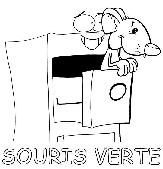 8 dessins de coloriage souris verte imprimer - Souris a colorier ...