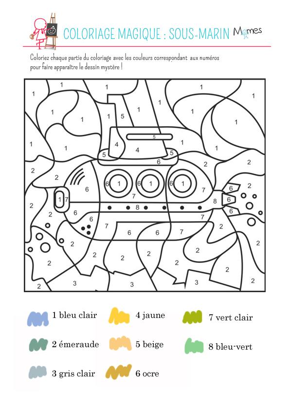 coloriage à dessiner sous marin militaire