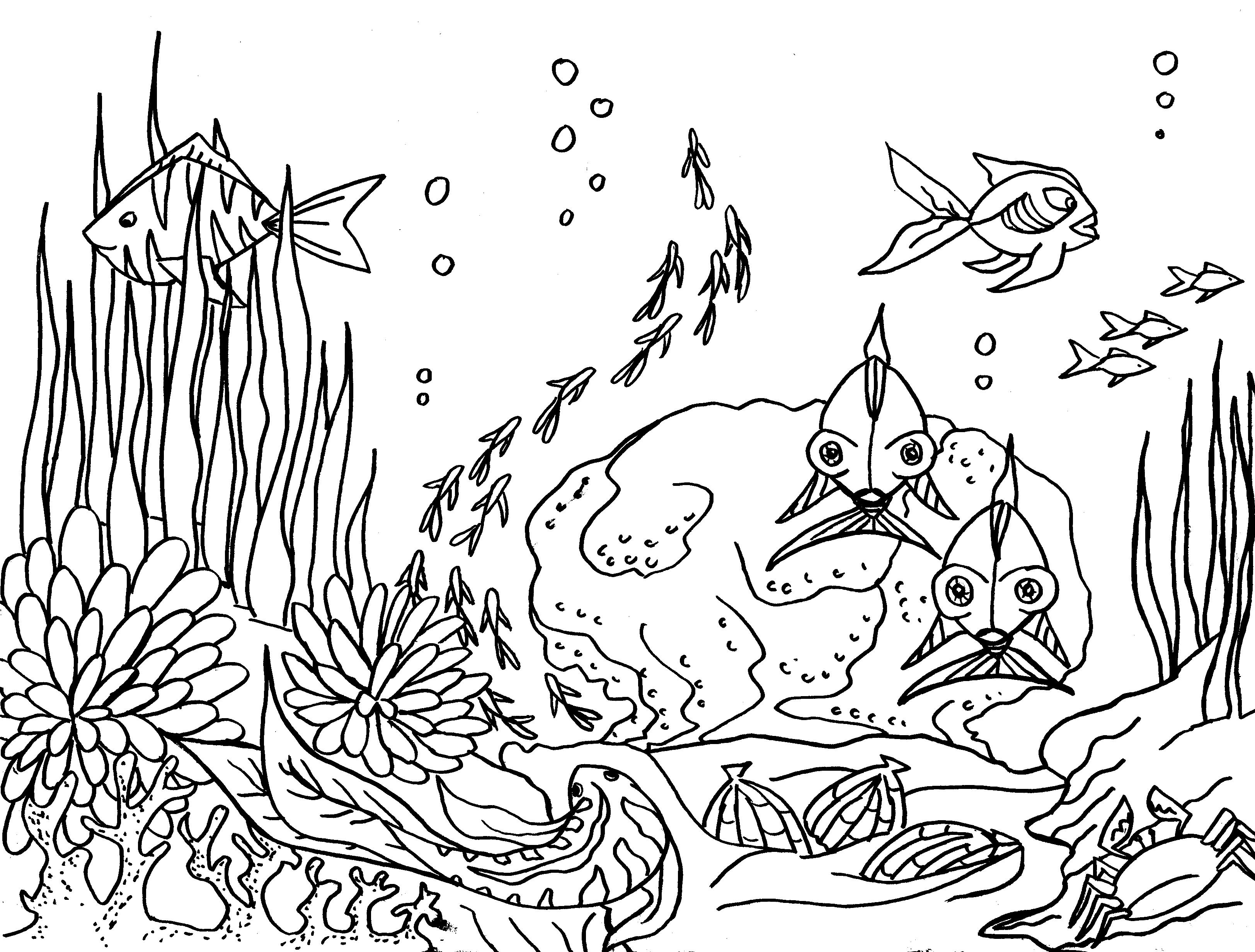 coloriage à dessiner sous marin