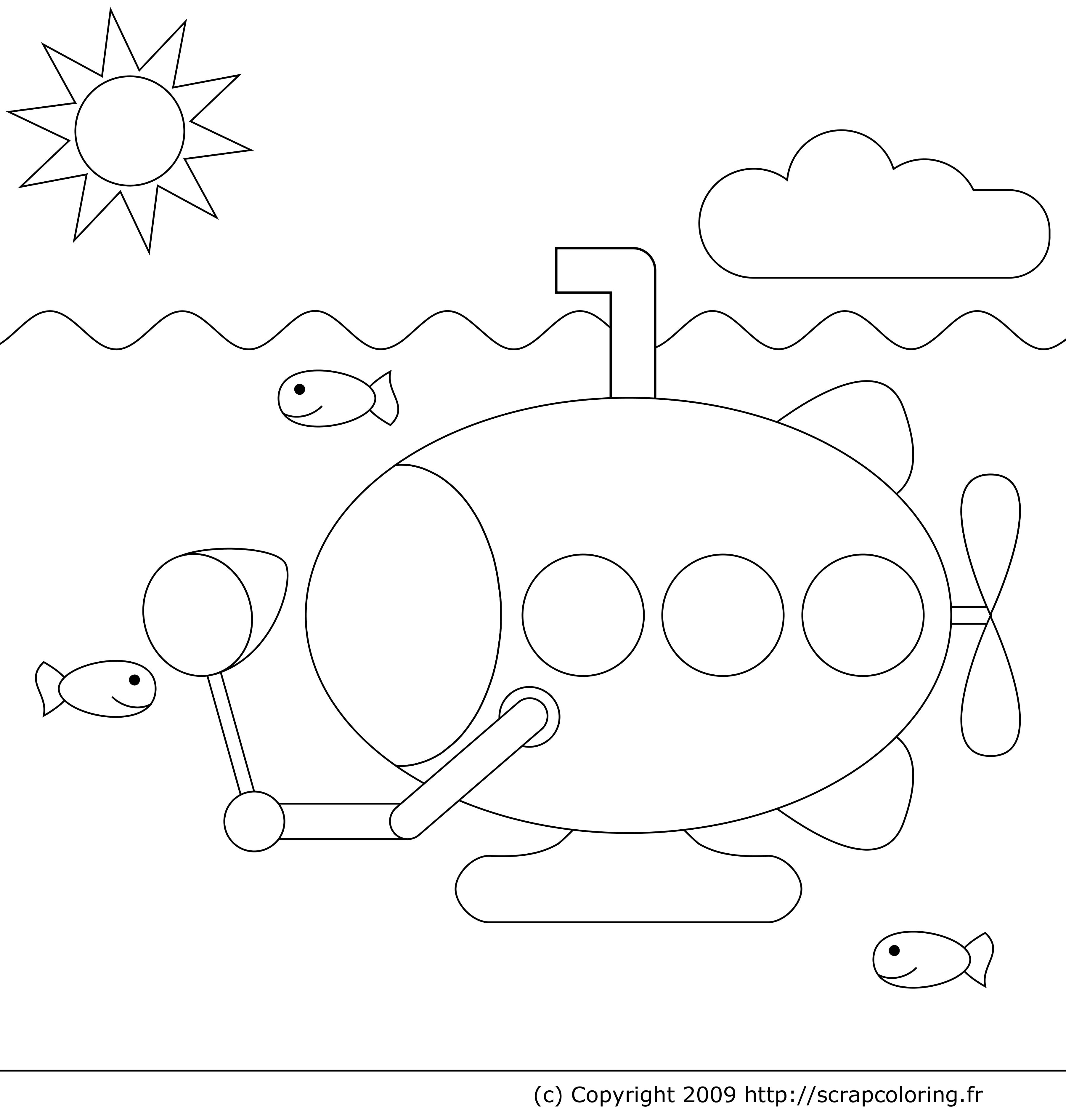 coloriage à dessiner vie sous marine