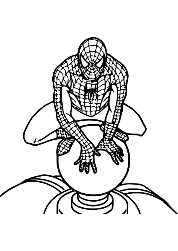 coloriage visage spiderman