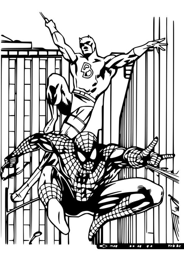 coloriage spiderman et batman