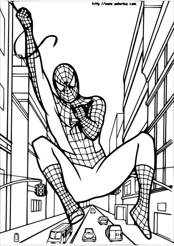 coloriage tete spiderman à imprimer