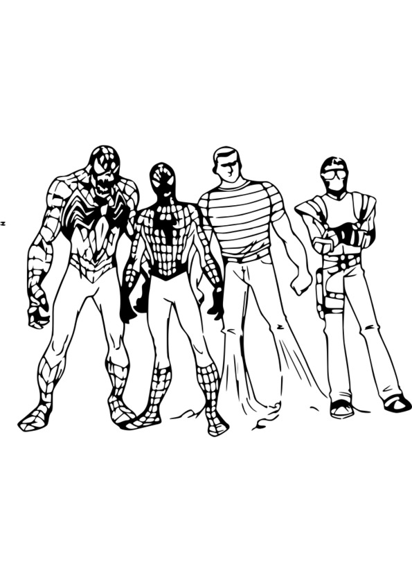 coloriage spiderman iron man